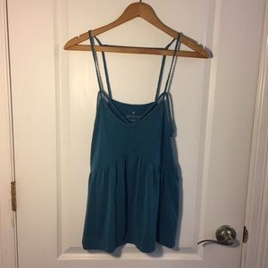 Teal Strappy Braided V-Neck Tank Top